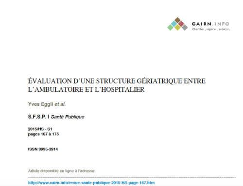 Évaluation d'une structure gériatrique entre l'ambulatoire et l'hospitalier