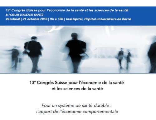 13e Congrès Suisse pour l'économie de la santé et les sciences de la santé